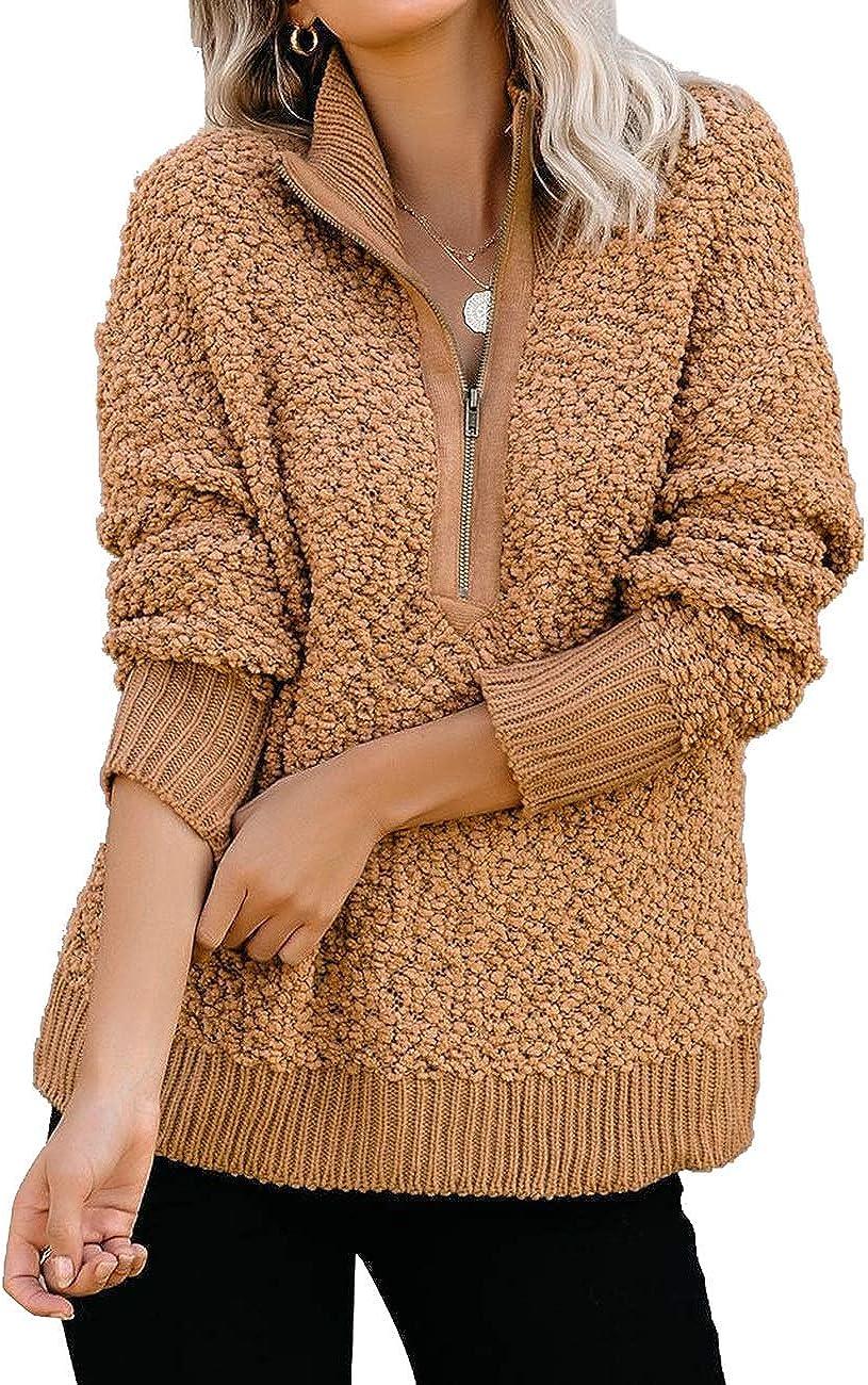 luvamia Women's Casual Fleece Zipper Pullover Sweater Cozy Knit Fuzzy Sweater Outwear