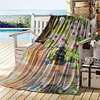 Mademai Spa Swaddle Blanket,Massage Composition Spa Theme with Candles Orchids and The Stones in Garden,Summer Quilt Pale Green Fuchsia 60