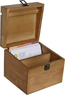 NIKKY HOME Kitchen Wood Recipe Organization Box with Cards and Dividers, 7.09 x 6.97 x 5.91 Inches