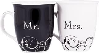 Mr. and Mrs. Poem Black and White 13 Oz. Ceramic Stoneware Mug Set of 2