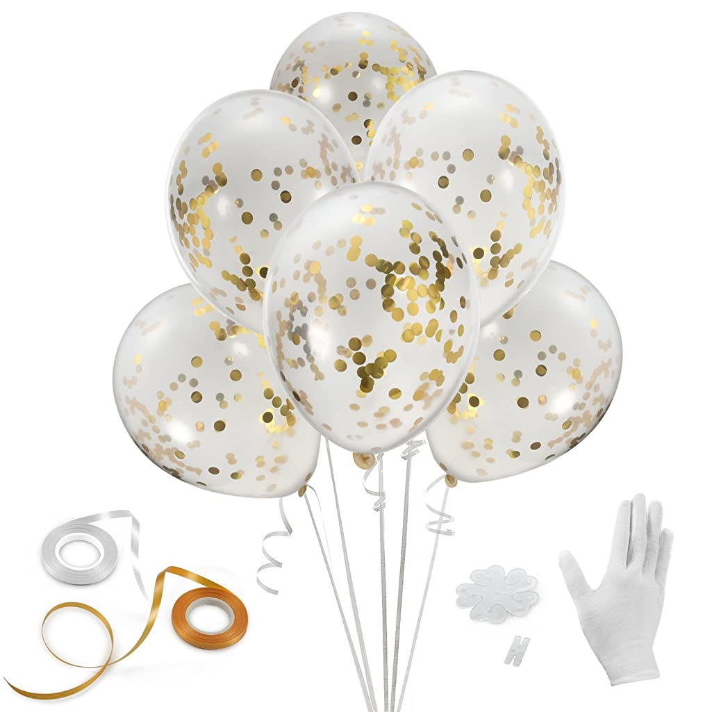 Gold Confetti Balloons, Haley Party 12 Inches 24 Pieces with Ribbon & Balloon Clips for Party Birthday Wedding Proposal Decorations