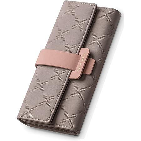 PAULO SERINI® Geldbörse Damen - Portemonnaie Damen 100% veganes Leder - Geldbeutel für Frauen groß mit 9 Kartenfächern Frauen - Women Wallet Cool Gray - grau