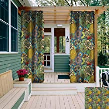 DONEECKL Living Room/Bedroom Window Curtains Garden Art Whimsical Florist Pattern with Doodle Funny Plants Artistic Rich Summer Nature Gazebo W108 x L72 Multicolor