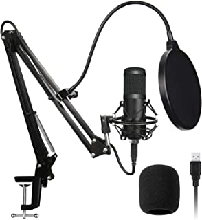 AADPLYA USB Microphone Kit 192KHZ/24BIT Plug & Play Condenser Computer Cardioid Mic with Professional Sound Chip Set Ideal...