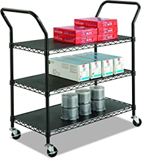 Safco Products 5338BL Wire Utility Cart with 3 Shelves, Rated up to 600 lbs, Black