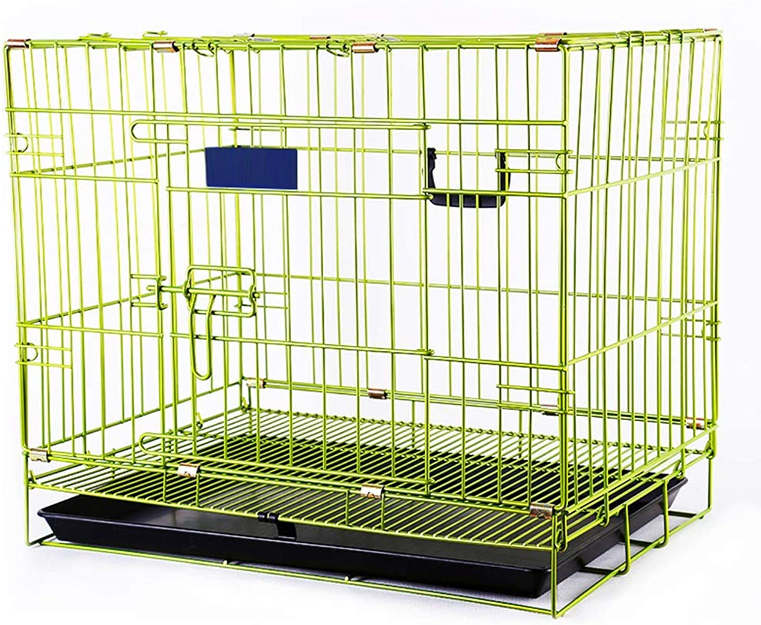 Green Dog Carrier  Small Medium Large Folding Pet cat Crate For Indoor outdoor, Metal (color   PINK, Size   61×44.5×51.5cm)