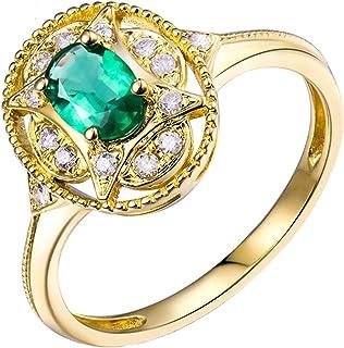 Daesar Anelli Oro Giallo Donna 18Kt, Anello Promessa Matrimonio 4 Griffe Smeraldo Ovale 0.5ct con Diamante 0.21ct Anelli F...