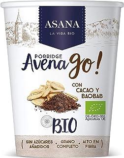 Porridge Ecológico de Avena con Cacao y Baobab. Sin Azúcar Añadido. Granos Enteros de Avena y Espelta. Preparación Instantánea. Pack de 8 Unidades de 55 g