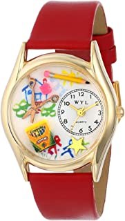 Whimsical Watches Women's C0640004 Classic Gold Preschool Teacher Red Leather And Goldtone Watch