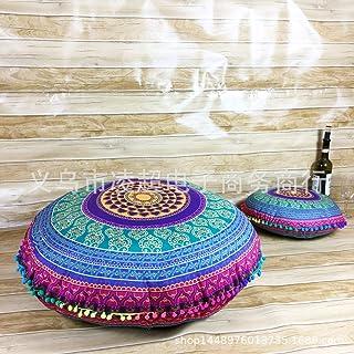 YB&GQ Redondo Boho Mandala Hippie Cojin Zafu Meditación Cubrir,Decorativo Lanzar Almohada Puff Otomana Cubierta Extraíble,32