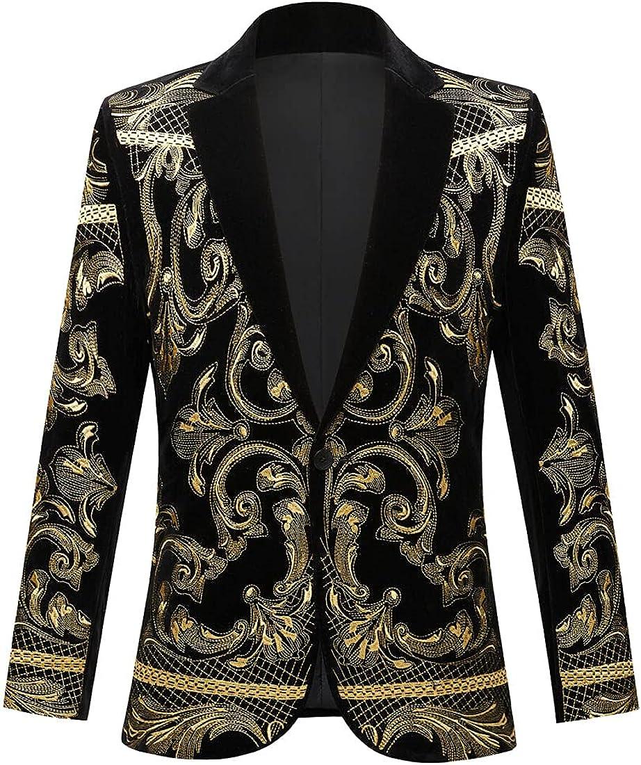 PYJTRL Mens Stylish Court Prince Gold Bl Embroidery Velvet Over Trust item handling ☆ Black