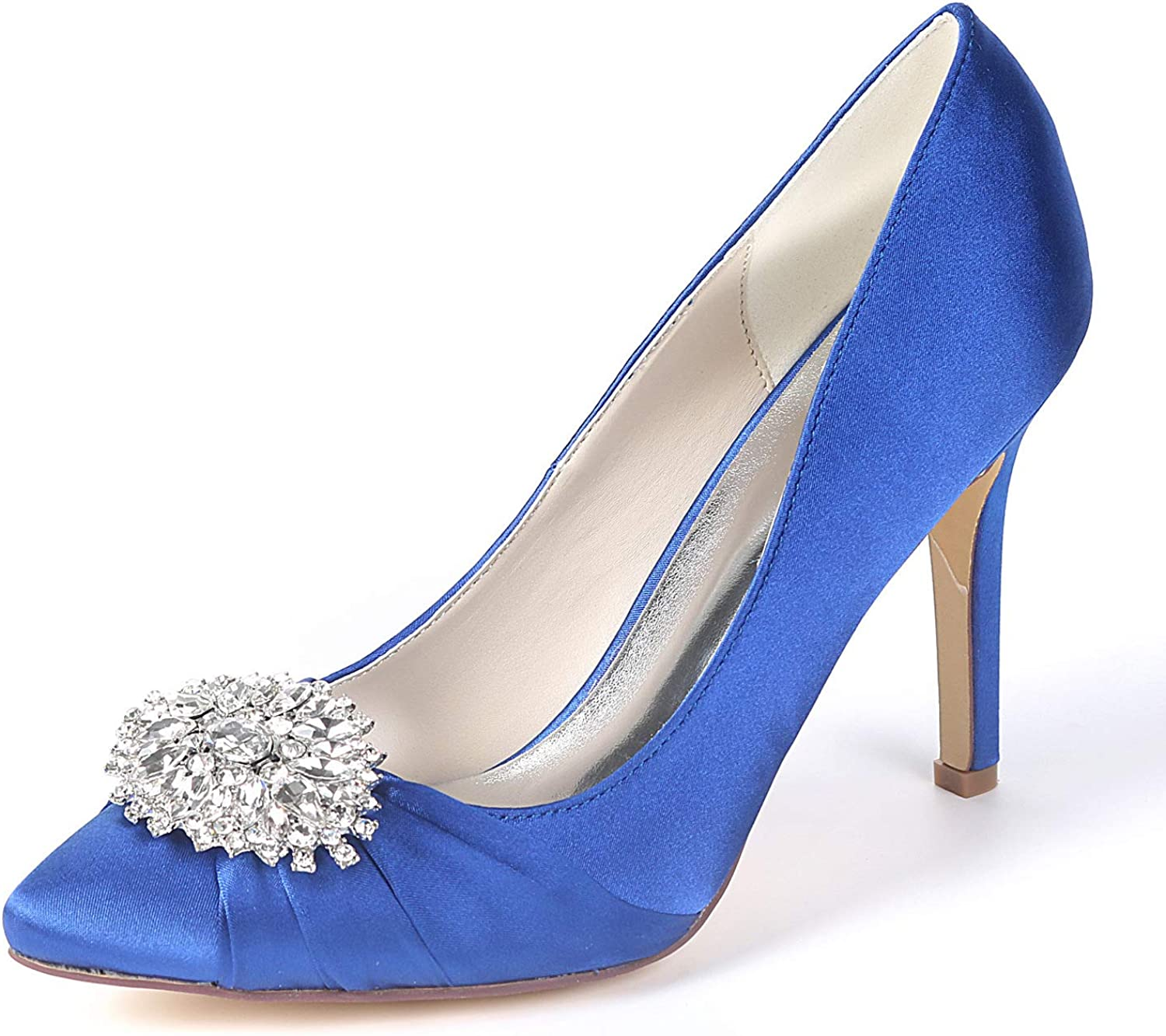 LLBubble Stiletto Heels Pointed Toe Bridal Pumps Satin Formal Party Women shoes 0608-01AB