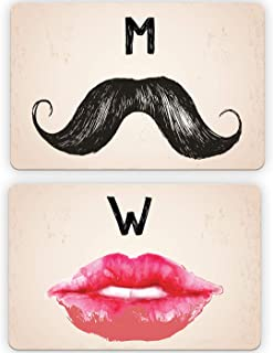 Retro Bathroom Restroom Door Signs, Men Mustache & Ladies/Women Lips Cool Design for Bars, Store or Restaurants 6 inch x 9 inch