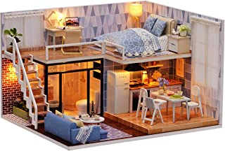 Ogrmar Dollhouse Miniature with Furniture, DIY Dollhouse Kit Plus Dust Proof & LED Light, Creative Room Toys for Children ...