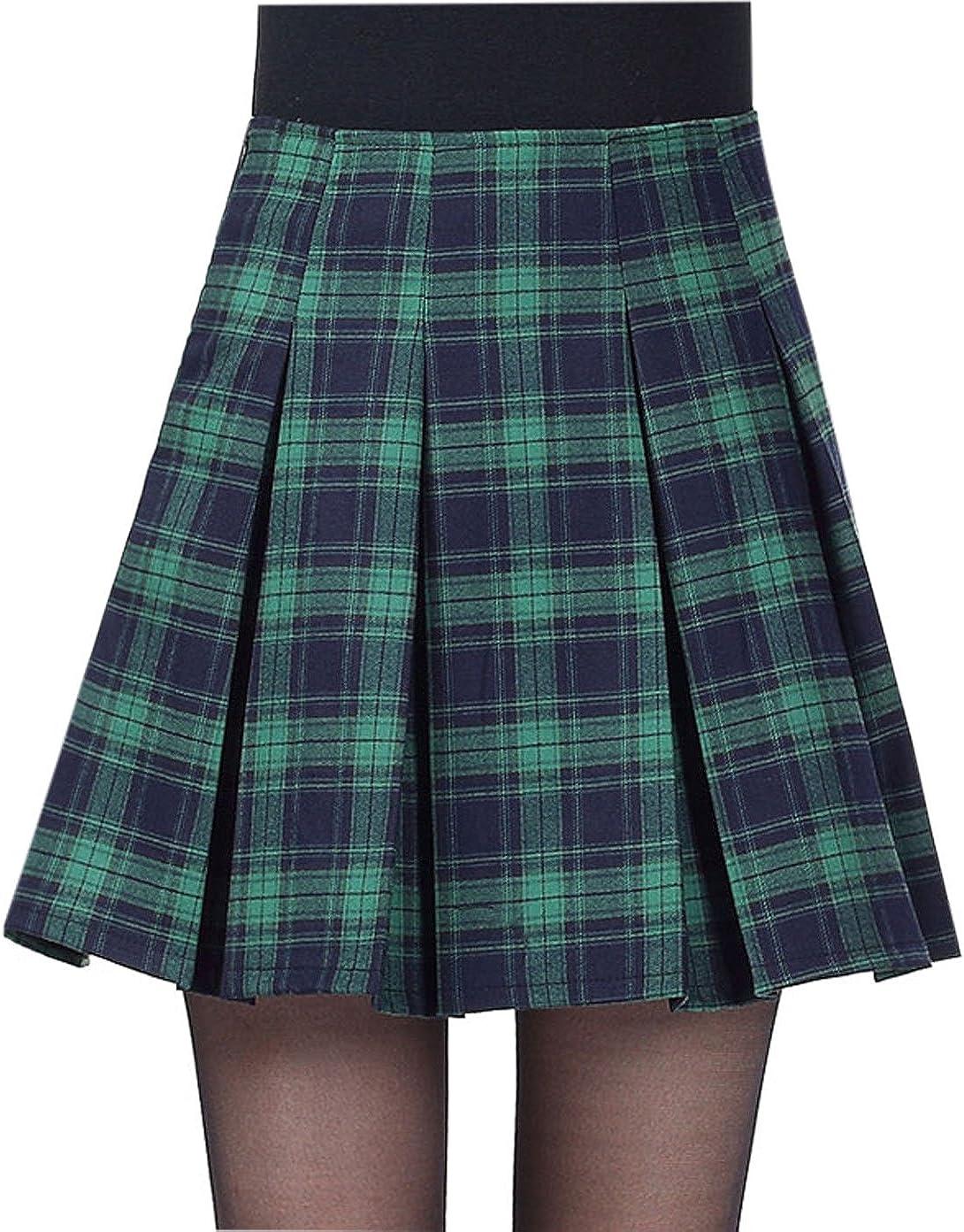 Yeokou Women's Casual A line Pleated Check Plaid Mini Short Tartan Skirt
