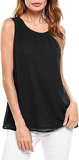 Womens Shell Tops Sleeveless Blouse Keyhole Chiffon Layered Tank Top
