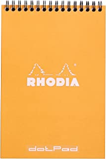 Rhodia Wirebound Notepads - Dots 80 sheets - 6 x 8 1/4 in. - Orange cover