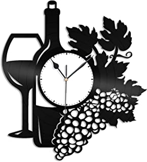 VinylShopUS - Wine Vinyl Wall Clock Unique Wine Decor Design Gift for Restaurant | Home and Room Decoration