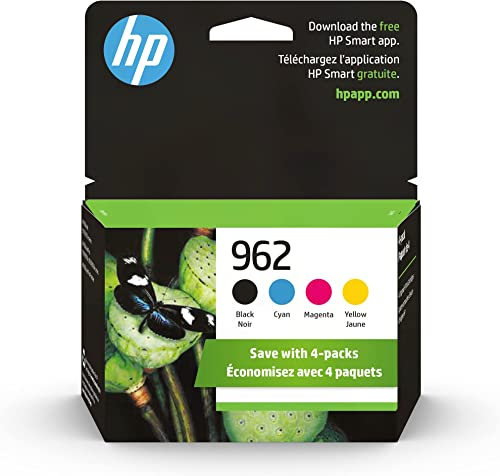 Original HP 962 Black, Cyan, Magenta, Yellow Ink Cartridges (4-Pack) | Works with HP OfficeJet 9010 Series, HP Office...