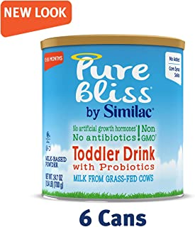 Pure Bliss by Similac Toddler Drink with Probiotics, Starts with Fresh Milk from Grass-Fed Cows, Non-GMO Toddler Formula, 24.7 Ounces, 6 Count