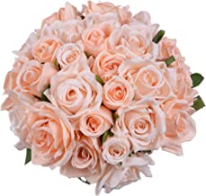 Artiflr 2 Pack Artificial Flowers Rose Bouquet Fake Flowers Silk Plastic Artificial Roses 18 Heads Bridal Wedding Bouquet for Home Garden Party Wedding Decoration
