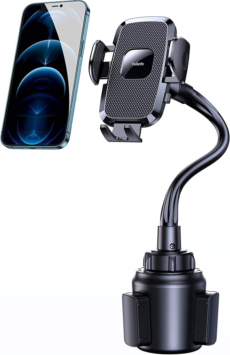 Cup Phone Holder for Car, Tollefe Car Phone Cup Mount, Adjustable Gooseneck Cup Cell Phone Mount Compatible with iPhone 12 Pro Max/XR/XS/11/8 Plus/Samsung/Google Pixel, Fit for F150 Universal Pickup