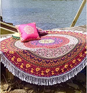 NANDNANDINI Beautifull Indian Mandala Round Roundie Beach Throw Tapestry Hippy Boho Gypsy Cotton Tablecloth Beach Towel Round Yoga Mat with beautifyl pom pom Border Tassels