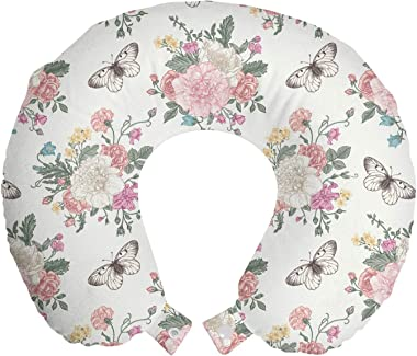 "Ambesonne Shabby Flora Travel Pillow Neck Rest, Peonies Peas Roses Bouquet Butterflies Pastel Tones Bridal Theme, Memory Foam Traveling Accessory for Airplane and Car, 12"", Pale Pink Green"