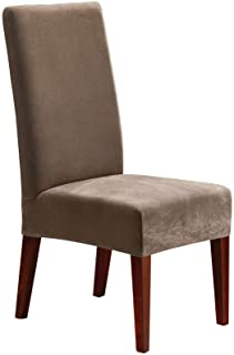 Sure Fit Home Décor Stretch Pique Short Dining Room Chair One Piece Slipcover, Form Fit, Polyester/Spandex, Machine Washable, Taupe Color, Dinning