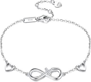 EleQueen 925 Sterling Silver Cross Bracelet Faith Religious Infinity Love Heart Bracelet for Women Girls