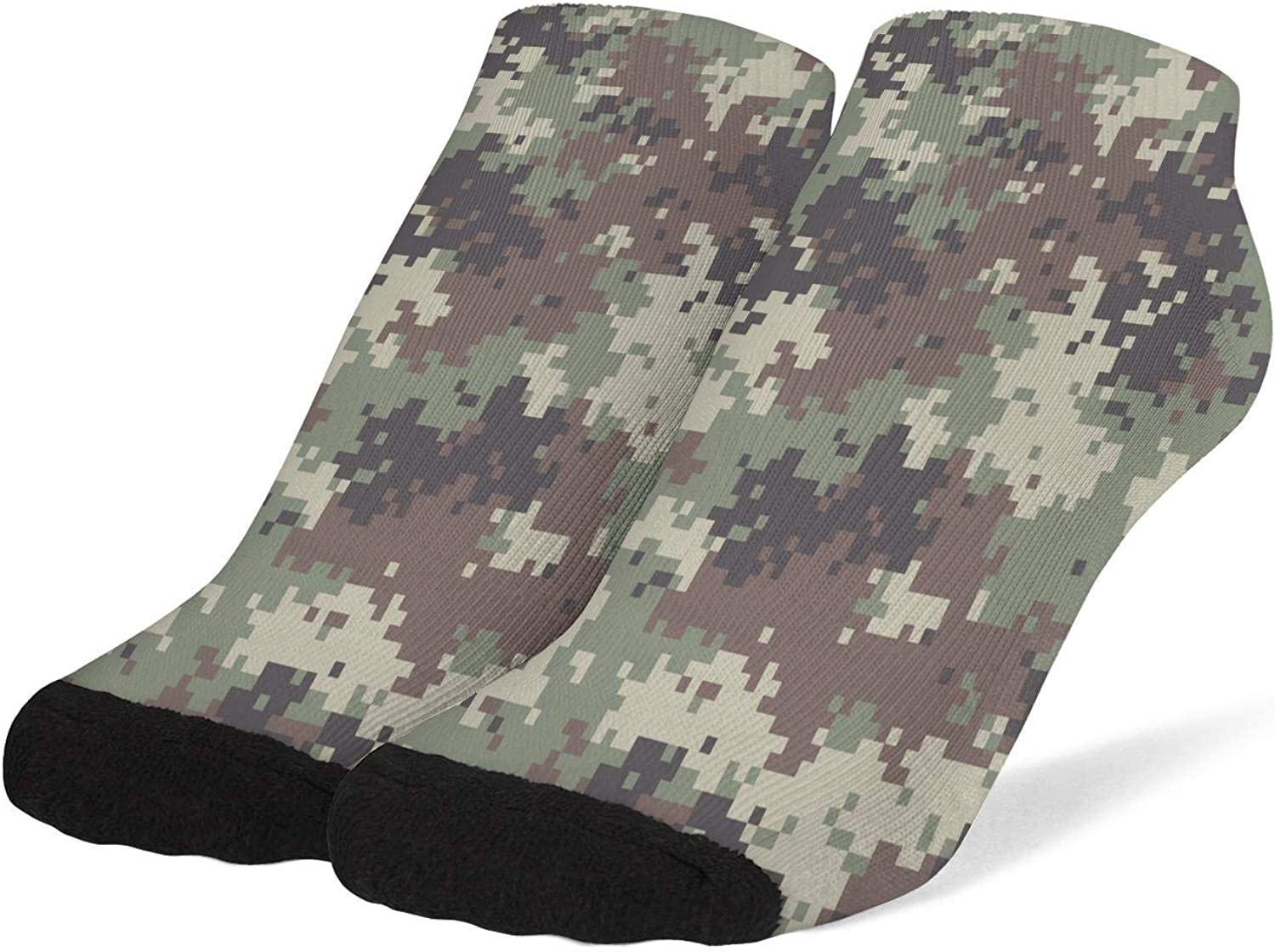 Womens Green Camouflage Camo Army Socks Cotton No Show Low Cut Sock Ankle Socks