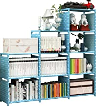 JK furniture DIY Adjustable 9-Cubes Shelf, Bookshelf, Bookcase, Organizer Storage Shelves, Steel Tube Combination (Blue)