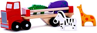 Classic Wooden Toy Truck with Animals for 2, 3 Year Olds, with Detachable Trailer Carrier & Solid Wood Hippo, Giraffe, Zebra & Crocodile Pieces for Preschool Kids, Toddlers Boys & Girls