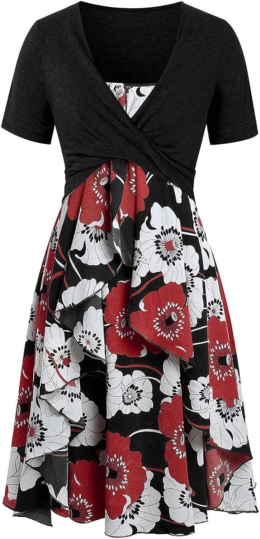 Tavorpt Summer Dresses for Women Beach Print Floral Fashion Bow knot Bandage Top Sundress Plus Size Dress Sundress