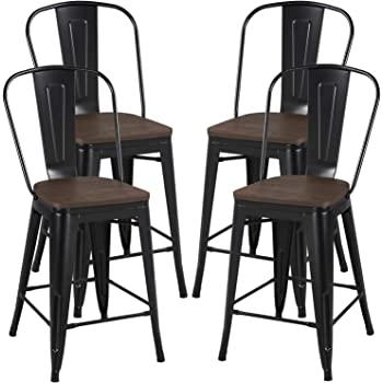 Amazon Com Yaheetech 24inch Seat Height Tolix Style Dining Stools Chairs With Wood Seat Top And High Backrest Industrial Metal Counter Height Stool Modern Kitchen Dining Bar Chairs Rustic Black Set Of 4 Kitchen