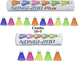 NONGI Combo Plus Plastic Badminton Shuttlecock Pack of 15(Multi-Color)