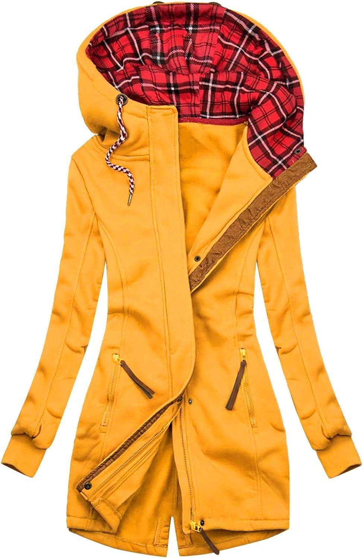 OIKAY Kapuzenpullover Damen Herbst Winter Reißverschluss Hoodie Sweatshirt Langarm Kapuze Jacke Casual Farbblock Sweatjacke Kapuzensweatshirt Winterjacke Mantel K Gelb