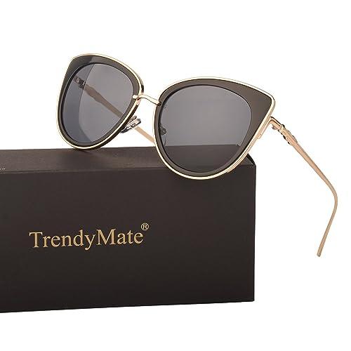 45f636c32a3 TrendyMate Women Metal Cute Cat Eye Mirror Sunglasses Fashion Eyewear