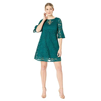 Gabby Skye Scallop Lace Pattern Dress (Emerald/Emerald) Women