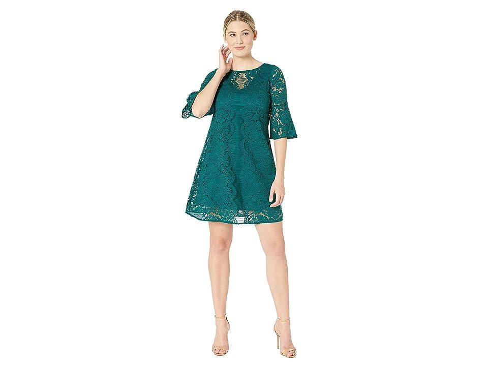 Gabby Skye Scallop Lace Pattern Dress (Emerald/Emerald) Women