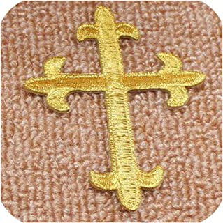 Burgundy /& Cream with Gold Finials Ornate Fleur De Lis Layered Wall Cross Decorative Scrolly Details