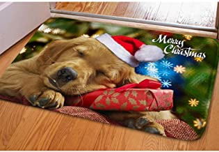 Youngerbaby Cute Christmas Dogs Print Doormat Home Decorative Welcome Floor Mats Kitchen Bath Bedroom Rubber Carpet -Merry Christmas