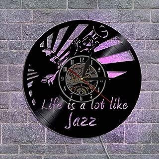 クリエイティブビニールレコード壁掛け時計、サイレントクォーツ時計機構 ナイトライトウォールクロック アートホームデコレーション リモコン付き,B