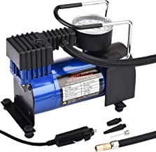 HONGNAL Air Compressor Tire Inflator, DC 12V Portable Car Air Compressor Pump with Gauge Multi-Function Car Air Pump with 3 Nozzle Adaptors for Car Tires, Bicycles, Trucks & Inflatables