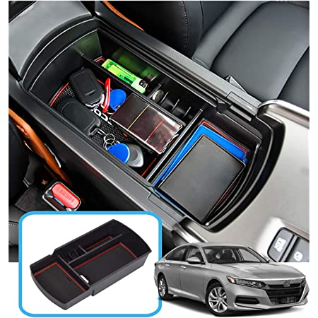 SKTU Compatible with 2018 2019 2020 Accord Center Console Storage Box Organizer Container Armrest Insert Organizer ABS Tray Pallet with USB Hole and Coin Holder White