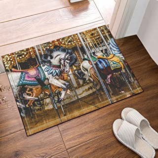 Children's Horse Decoration Carousel Bathroom Carpet Anti-Slip Door mat Floor Entrance Outdoor Indoor Children Bathroom mat 15.7x23.6in Bathroom Accessories