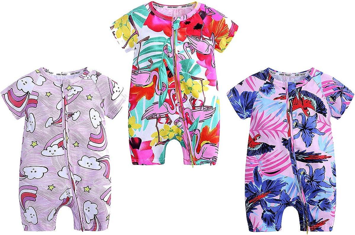 WINZIK 5Pcs Toddler Baby Boy Girl Zipper Pajamas Bodysuit Summer Short  Sleeve Cotton One-Piece Romper Outfit