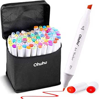 Ohuhu 40 Colours Dual Tips Permanent Marker Pens Art Markers for Kids Highlight