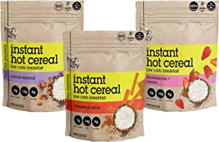 HighKey Instant Hot Cereal Breakfast ( Cinnamon Spice, Cocoa Almond, Strawberries + Cream ) - KETO-CERTIFIED - GLUTEN FREE - LOW CARB - Variety Pack of 3