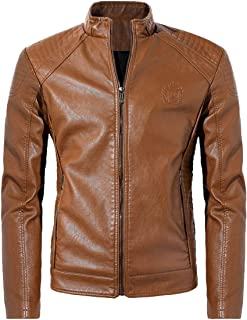NXH® Men's PU Motorcycle Leather Jacket Classic Collar Slim Fit OutwearBlazer L